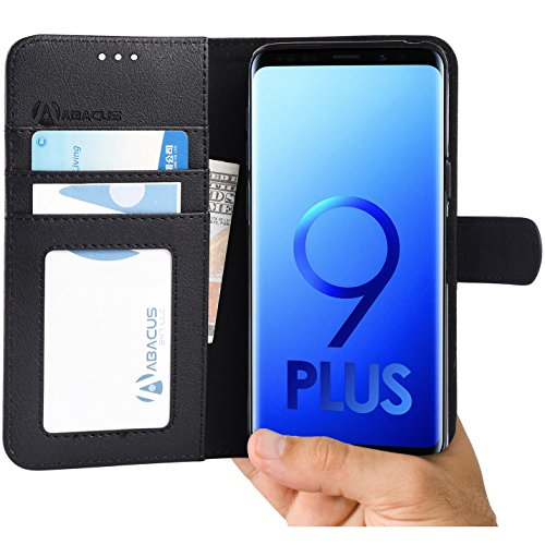 Abacus24-7 Samsung Galaxy S9 Plus Case Wallet with Flip Cover and Stand for The S 9+ Phone Black