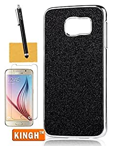 Galaxy S6 Cover,KINGH(TM)Glitter Powder Ultra Thin Back Cover Case Slim Beautify Fit for Samsung Galaxy S6,with Screen Protector,Cleaning Cloth and Touch Stylus(Black)