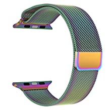 Apple Watch Band Series 1 Series 2, LNKOO Milanese Loop Stainless Steel Bracelet Smart Watch Replacement Strap for iWatch All Models with Unique Magnet Lock, No Buckle Needed (38MM/Colorful)