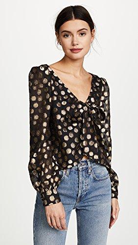 For Love & Lemons Women's Lottie Tie Front Blouse, Gold Dot, Medium by For Love & Lemons (Image #2)