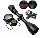 X-Aegis Tactical 3-9x56 Red & Green Mil-dot Illuminated Optics Sight Hunting Air Rifle Scope with 2 Mounts & Lens Cover + Free Mounts
