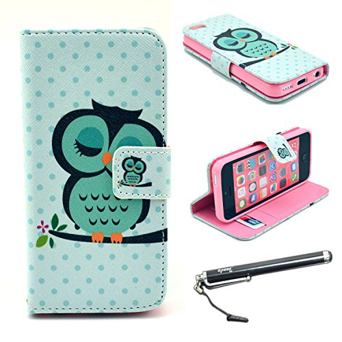 iPhone 5C Case, Speedtek OWL Pattern Premium PU Leather Wallet Flip Protective Skin Case with Magnetic Closure for Apple iPhone 5C (2013) (Built-in Credit Card/ID Card Slot)