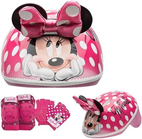 Disney Girls Minnie Mouse Kids Skate Bike Helmet Pads Gloves – 7 Piece Set