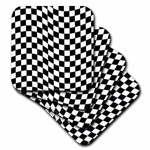 (3dRose Lee Hiller Designs Retro 60s - Retro 60s Black and White illusion Check Print - set of 8 Coasters - Soft (cst_5689_2))