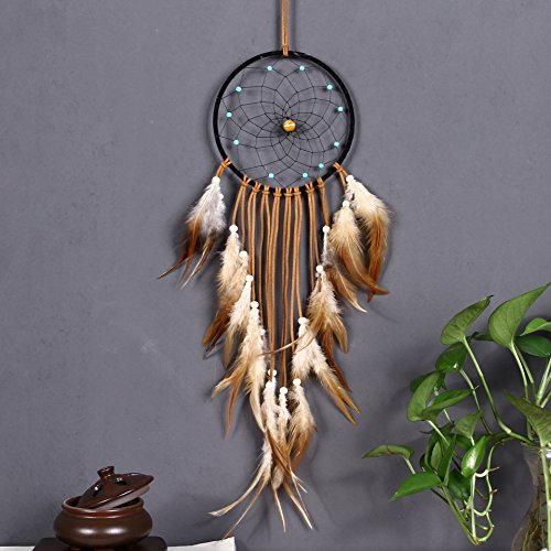 Twin Leather Pants (Large Brown Dream Catcher 6x25 Inch Beaded Nature Feathers With Handmade Weave Web Come With Kraft Gift Bag Hanging Ornaments Boho Native American Indian Bedroom Wall Decor)