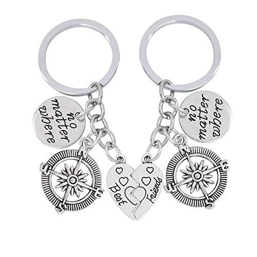 XGAKWD 2pcs Best Friends Keychain Set, No Matter Where Compass Split Broken Heart Friendship Gift Unisex