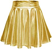 Urban CoCo Women High Waist Shiny Liquid Pleated Flared Mini Skater Skirt