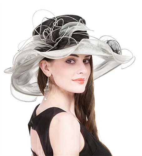 8c4f2d84 Saferin Women's Kentucky Derby Sun Hat Church Cocktail Party Wedding Dress  Organza Hat Two Tone Color