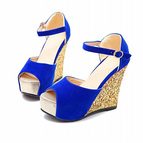 Mee Shoes Damen Keilabsatz Peep toe Pailletten Plateau Sandalen Blau