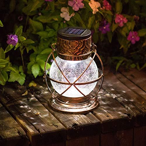 Bronze Outdoor Hanging Lantern - TAKE ME Solar Lantern Outdoor Hanging,Garden Metal&Glass Vintage Color Changing LED Solar Lights