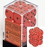 : Chessex Dice d6 Sets: Opaque Orange with Black - 16mm Six Sided Die (12) Block of Dice