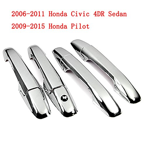 Triple Chrome Side Door Handle Cover Trims for 06-11 Honda Civic 4dr Sedan 2006 2007 2008 2009 2010 2011 w/ Adhesive Tape Brand NEW on Sale by phgiveu CH010004D