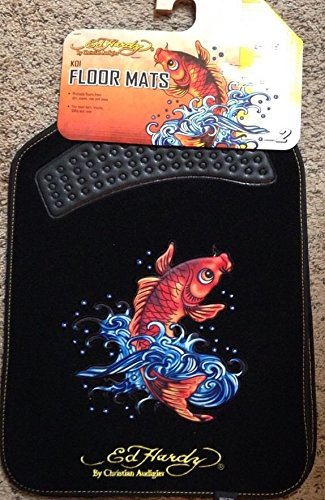 Ed Hardy Floor Mats with the Koi Fish Design