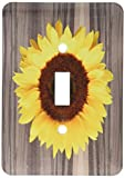 3dRose lsp_181827_1 Wood Image with Sunflower Single Toggle Switch