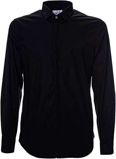 Dondup - Camisa negra de algodón, manga larga, cuello clásico ...