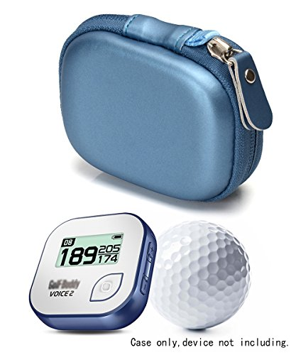 Hard EVA protective case for Golf GPS by CaseSack, Specially Designed for GolfBudy Voice, Voice 2, Bushnell NeoGhost, Mesh pouches on both lid and base for GPS and cable separatedly (Frosted Blue) (Mesh Golf Pouch)