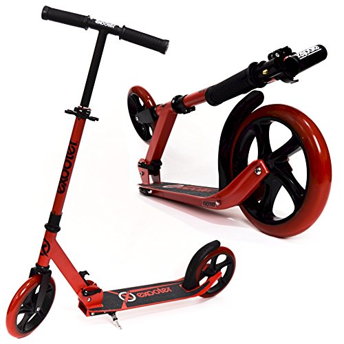 EXOOTER M1450VR 5XL Foldable Teen Kick Scooter With 200mm Wheels In Vibrant Red. (Scooter Wheels 200mm)