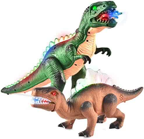 JOYIN 2 Pack LED Light Up T-Rex Walking Realistic Dinosaur Toy with LED Light and Roaring Sound