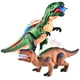 JOYIN 2 Pack LED Light Up T-Rex Walking Realistic Dinosaur Toy with LED Light and Roaring Sound