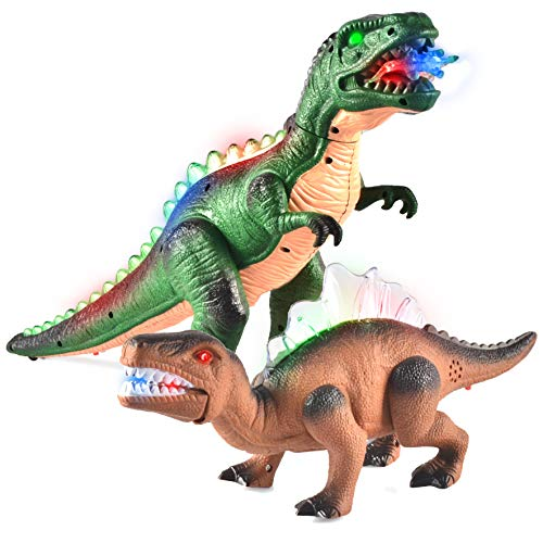 JOYIN 2 Pack Led Light Up T-Rex Walking Realistic Dinosaur Toy with Led Light & Roaring Sound -