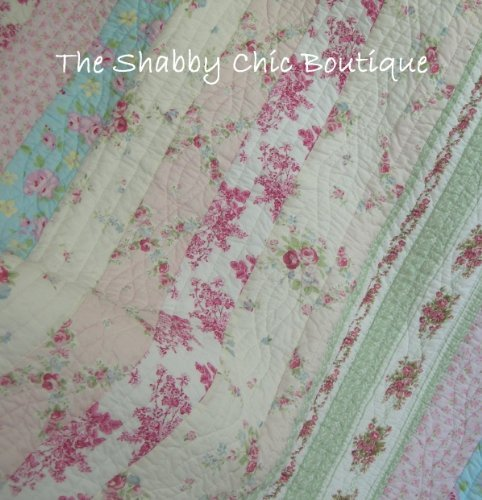 Finely Stitched Home Full Queen Quilt Set Shabby Patchwork Vintage Pink Rose Chic