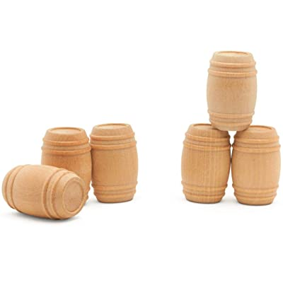 "Wooden Pickel Barrel 1-5/8"" Inch, Pack of 10, Small Unfinished Cargo Drums, Perfect for Miniatures, Scale Models, Toy Train Making or Woodworking Craft Projects, by Woodpeckers"