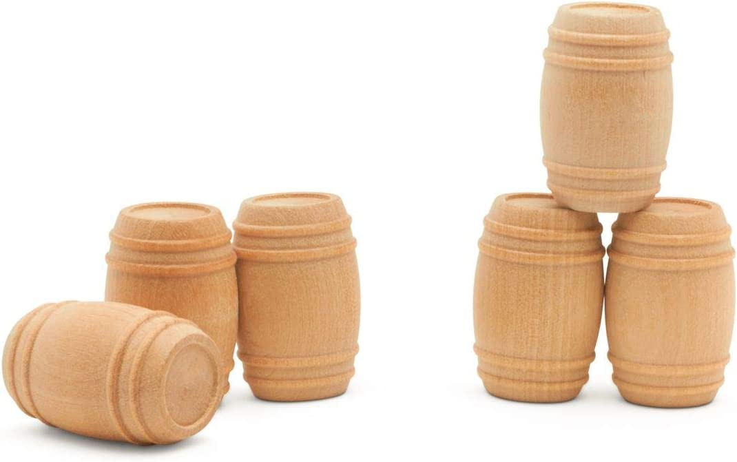 """Wooden Pickel Barrel 1-5/8"""" Inch, Pack of 10, Small Unfinished Cargo Drums, Perfect for Miniatures, Scale Models, Toy Train Making or Woodworking Craft Projects, by Woodpeckers"""