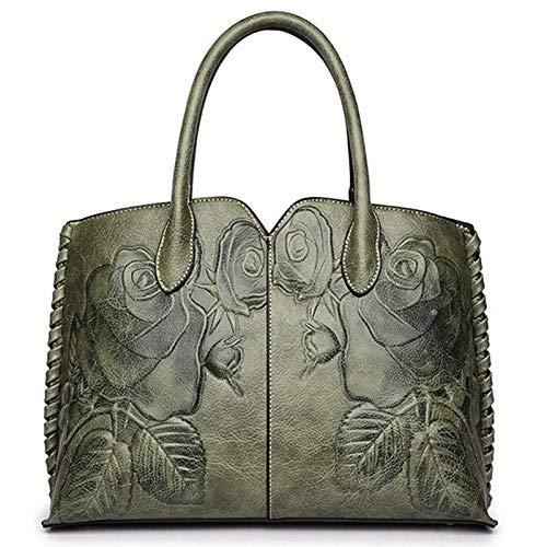 SODIAL Ladies Genuine Leather Bag for Women Green Luxury Handbag Female Embossed Messenger Bag Brand Totes