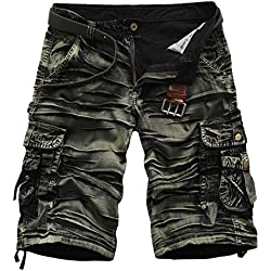 Men's Casual Multi Pocket Cargo Shorts (34, ArmyG#1)