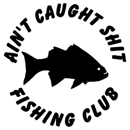 """Crawford Graphix Fishing Club Fish Funny Car Boat Hunting Fishing Sticker Decal (5.5"""", Black)"""