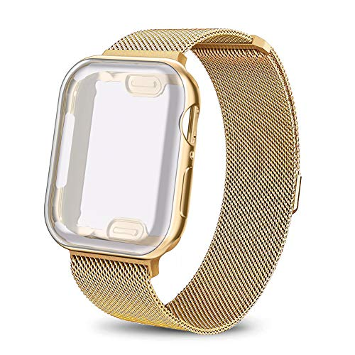 (AdMaster Compatible for Apple Watch Band 40mm, Stainless Steel Mesh Milanese Sport Wristband Loop with Apple Watch Screen Protector Compatible for iWatch Series 4 Yellow Gold)