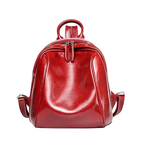 DISSA - Bolso mochila de Charol para mujer Medium Rojo