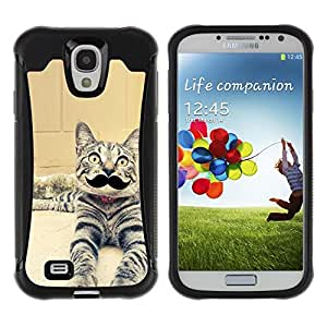 ZETECH CASES / Samsung Galaxy S4 I9500 / EGYPTIAN MAU SERENGETI MOUSTACHE CAT / egipcio mau serengeti bigote gato / Robusto Caso Carcaso Billetera Shell Armor Funda Case Cover Slim Armor