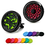 RoyAroma 2PCS 30mm Car Aromatherapy Essential Oil Diffuser Stainless Steel Locket Air Freshener with Vent Clip 12 Felt Pads-Black