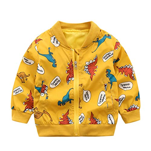 (EISHOW Kids Baby Boys Long Sleeve Dinosaur Fall Coat Outwear Infant Toddler Hoodie Hooded Zip-up Thin Jacket Clothes (# Yellow, 2-3 Years))