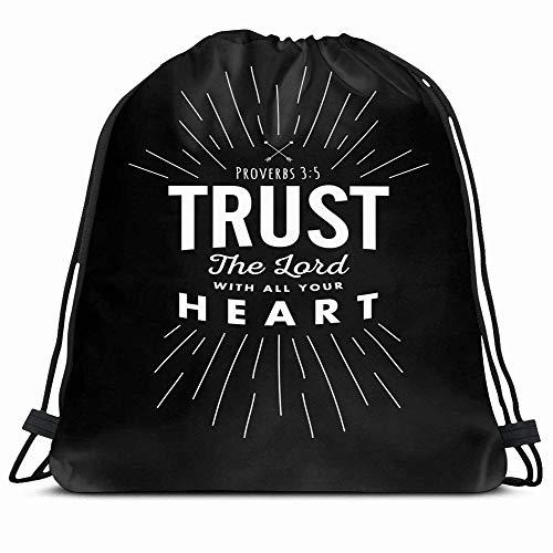 Ahawoso Drawstring Backpack String Bag Proverbs Heart Christian Biblical Emblem Trust Accent Always Arrows Belief Christianity Design Spiritual Sport Gym Sack Hiking Yoga Travel Beach
