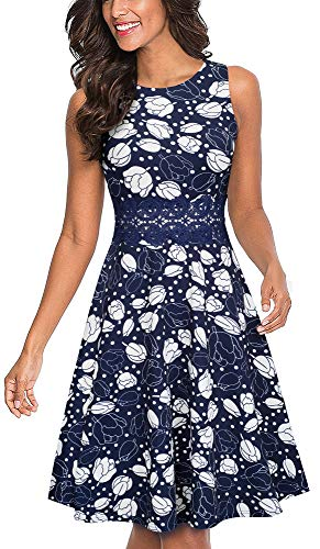 HOMEYEE Women's Sleeveless Cocktail A-Line Embroidery Party Summer Wedding Guest Dress A079(12,Dark Blue+Dots+Floral)