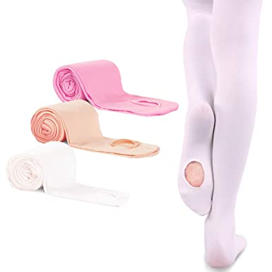 4a733d4dc4e86 3 Pairs Ballet Dance Tights for Girls Toddler Ultra Soft Convertible  Transition Footed Tight (Toddler