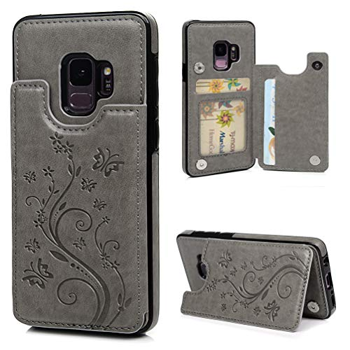 Galalxy S9 Wallet Case with Card Holder, Premium PU Leather Kickstand Card Slots Case, Double Magnetic Clasp and Durable Shockproof Cover for Galalxy S9, Gray