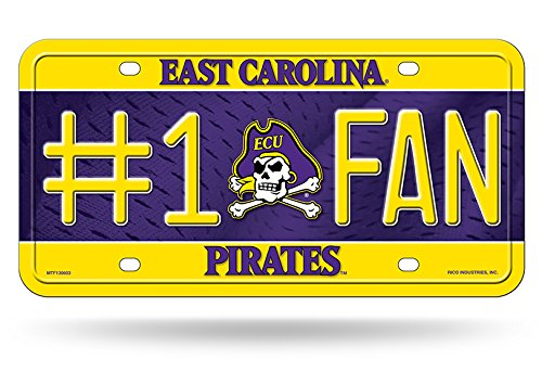 NCAA East Carolina Pirates #1 Fan Metal License Plate Tag Rico Industries Inc MTF130603