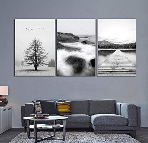 北欧ミニマリズム黒と白の海木製橋風景キャンバス絵画現代家の装飾壁アート写真50×70Cmx3ピースなしフレーム