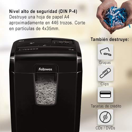 Fellowes 8Cd - Destructora trituradora de papel y Cds, corte en partículas, 8 hojas, negro: Fellowes: Amazon.es: Oficina y papelería