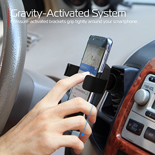 tzumi Wireless Charging Gravity Mount – Pressure-Activated Smartphone Car Mount and Wireless Charger for All Qi-Enabled Devices – Docks from Any Air Vent by Tzumi (Image #5)