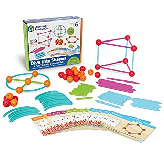 "Learning Resources Dive into Shapes! A ""Sea"" and Build Geometry Set, 129 Pieces, Ages 6+"