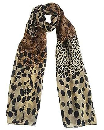 Mehrunnisa Fashion Leopard Print Scarf/Neck Wrap - Unisex - brown - Standard