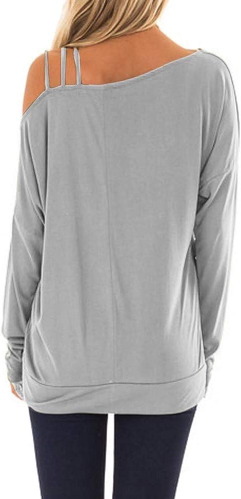 Xmiral T-Shirt da Donna Casual a Maniche Lunghe Morbida con Scollo a V