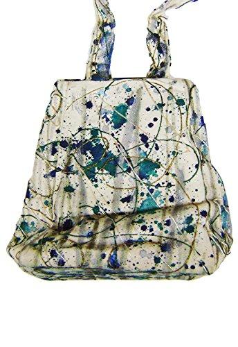 """Modestone Marriott Women's Glitter Hand Painted Canvas Bag 6 1/2"""" x 8"""" x 4"""" Blue"""