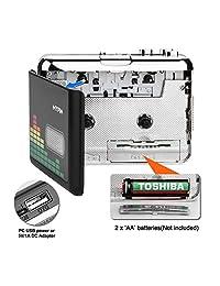 Convertidor de casete a MP3, casete portátil Audio Reproductor de música tape to mp3 convertidor y grabadora de cassette con auriculares no requiere PC
