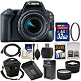Canon EOS Rebel SL2 Wi-Fi Digital SLR Camera & EF-S 18-55mm is STM Lens (Black) + 32GB Card + Case + Battery & Charger + Filter + Tele/Wide Lens Kit