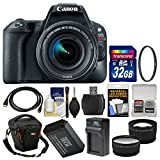 Canon EOS Rebel SL2 Wi-Fi Digital SLR Camera & EF-S 18-55mm is STM Lens (Black) + 32GB Card + Case + Battery & Charger + Filter + Tele/Wide Lens Kit For Sale